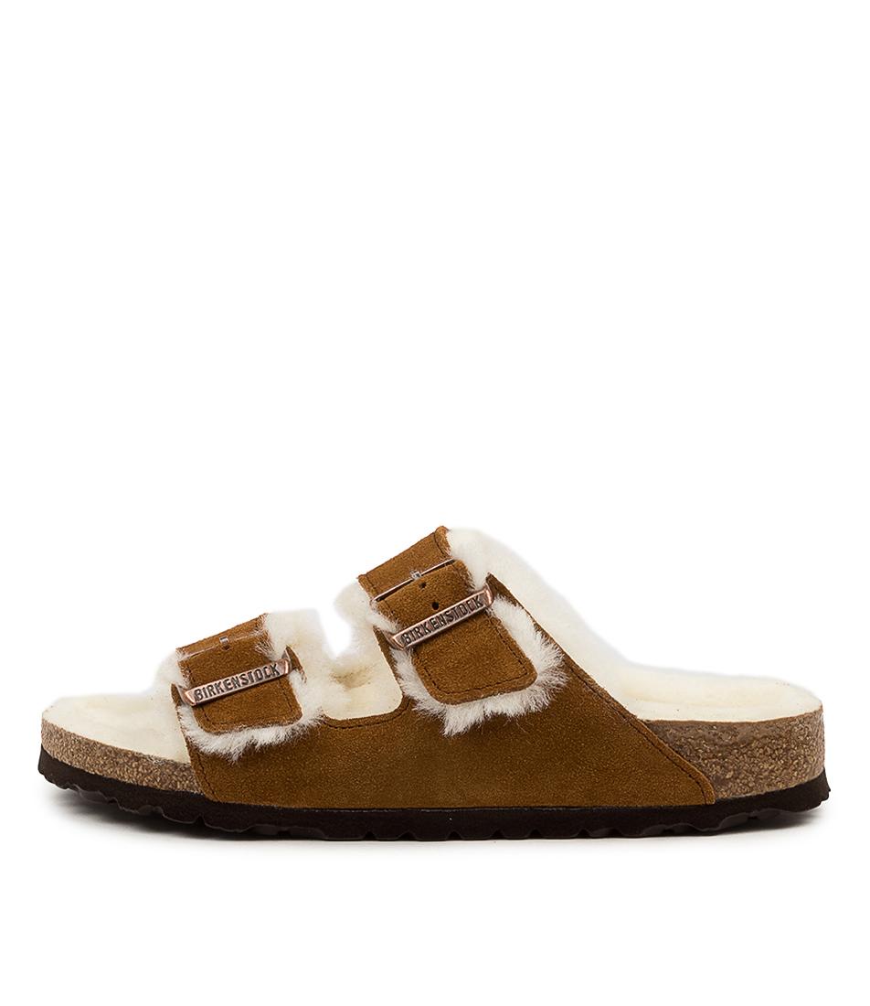 Buy Birkenstock Arizona Shearling Narrow Bk Mink Flat Sandals online with free shipping