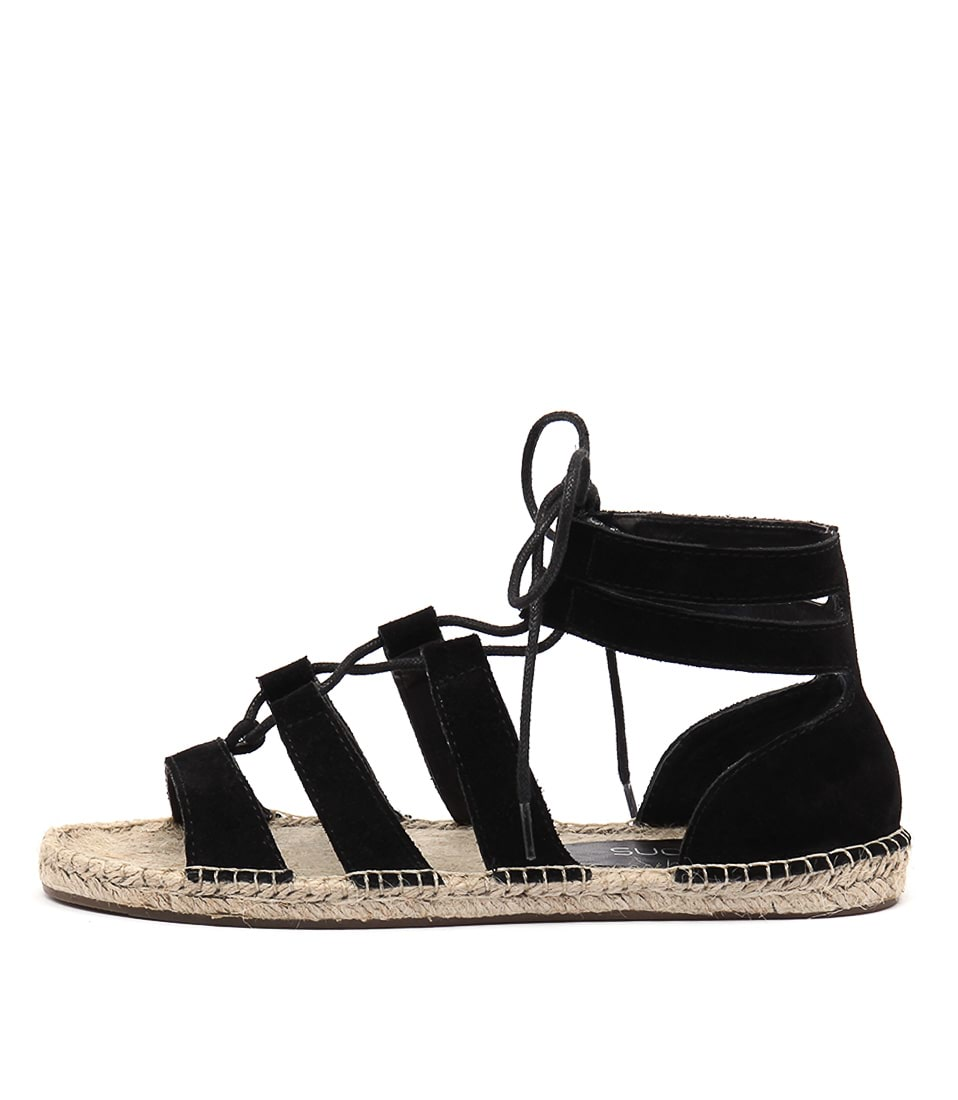 Bonbons Jillian Black Casual Flat Sandals