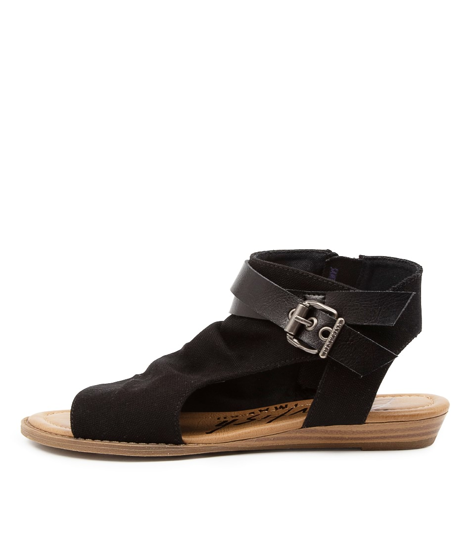 Buy Blowfish Balla4 Earth Bw Black Flat Sandals online with free shipping