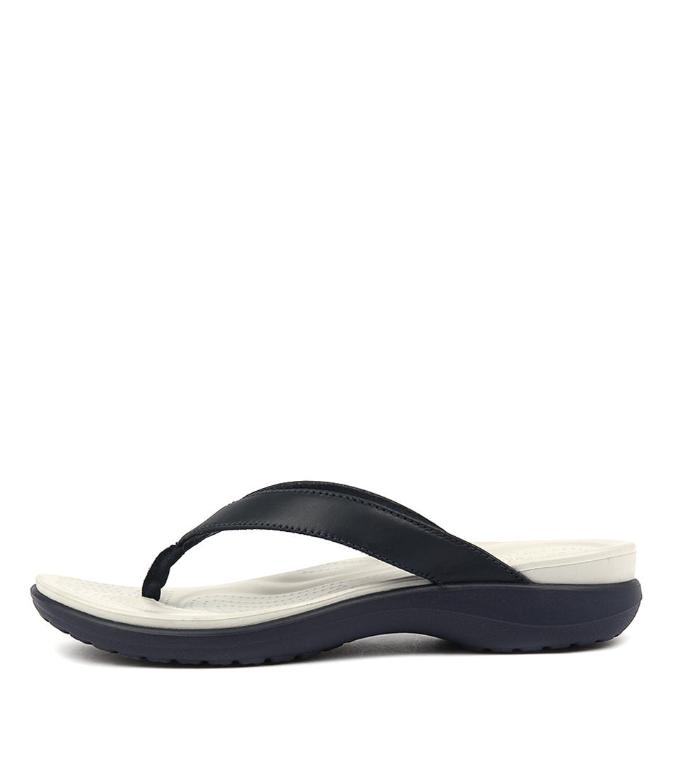 Crocs Capri V Flip Navy Pearl Heeled Sandals
