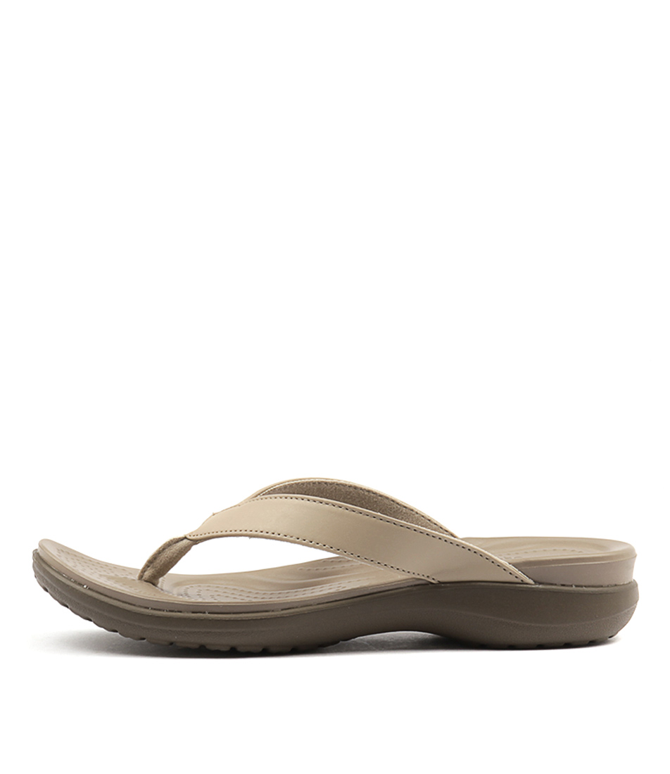 Crocs Capri V Flip Chai Walnut Heeled Sandals