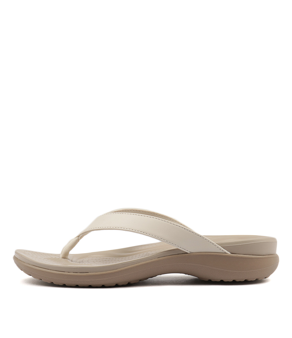 Crocs Capri V Flip Oyster Tumblewe Heeled Sandals