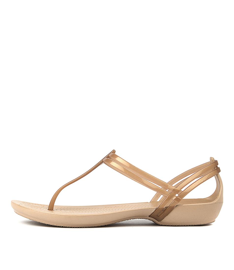 Crocs Isabella T Strap Bronze Sandals