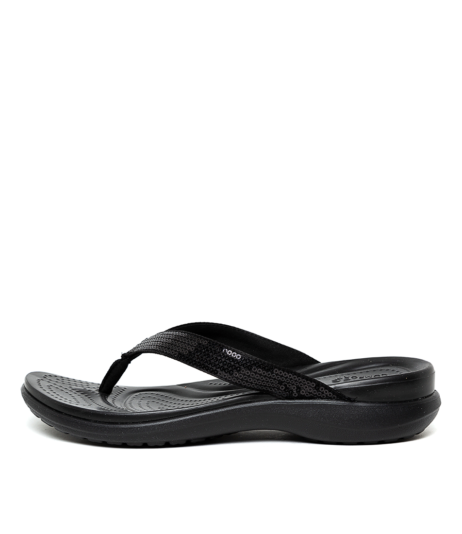 Buy Crocs Capri V Sequin Black Flat Sandals online with free shipping