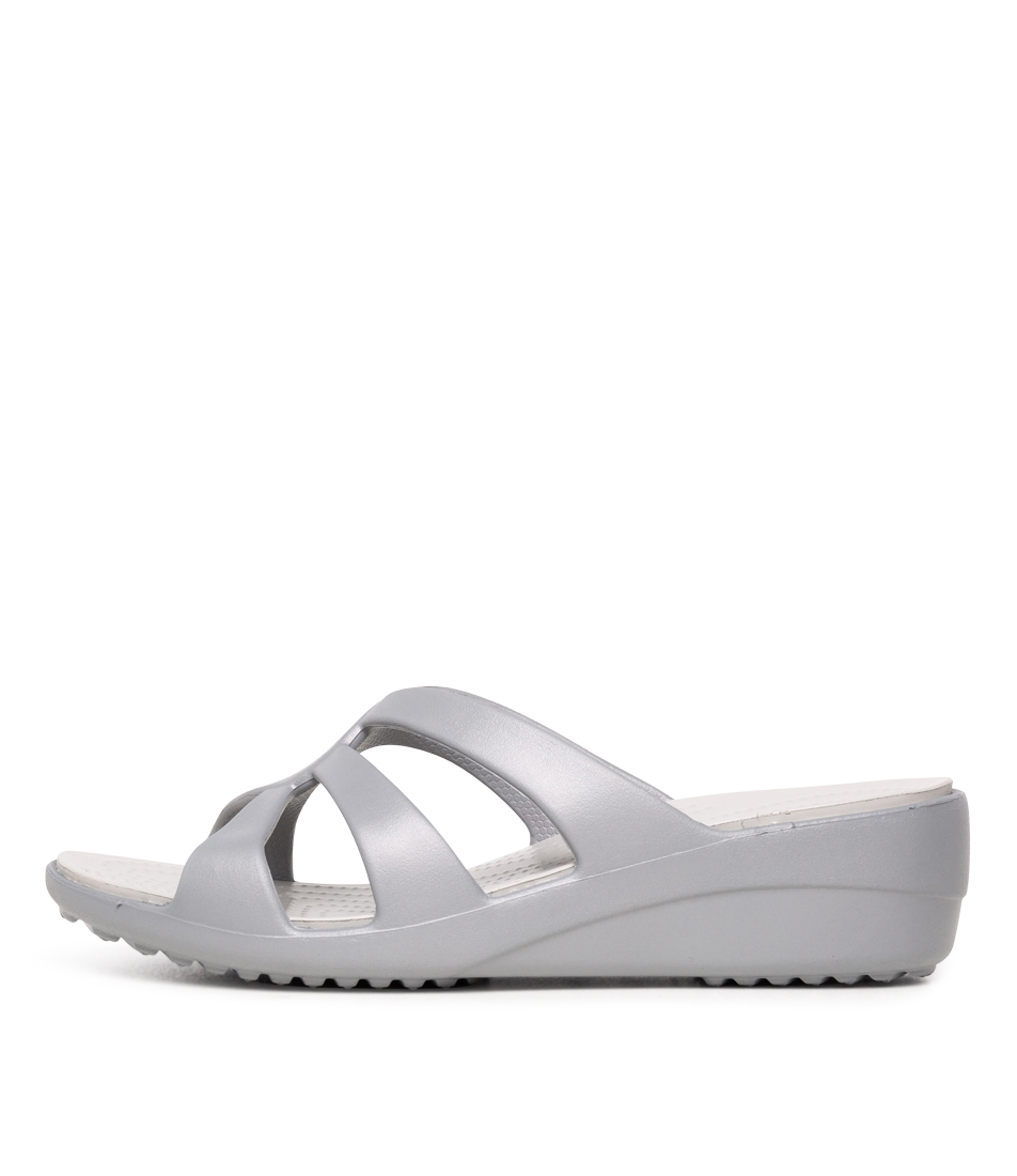 Buy Crocs Sanrah Strappy Wedge Silver White Heeled Sandals online with free shipping