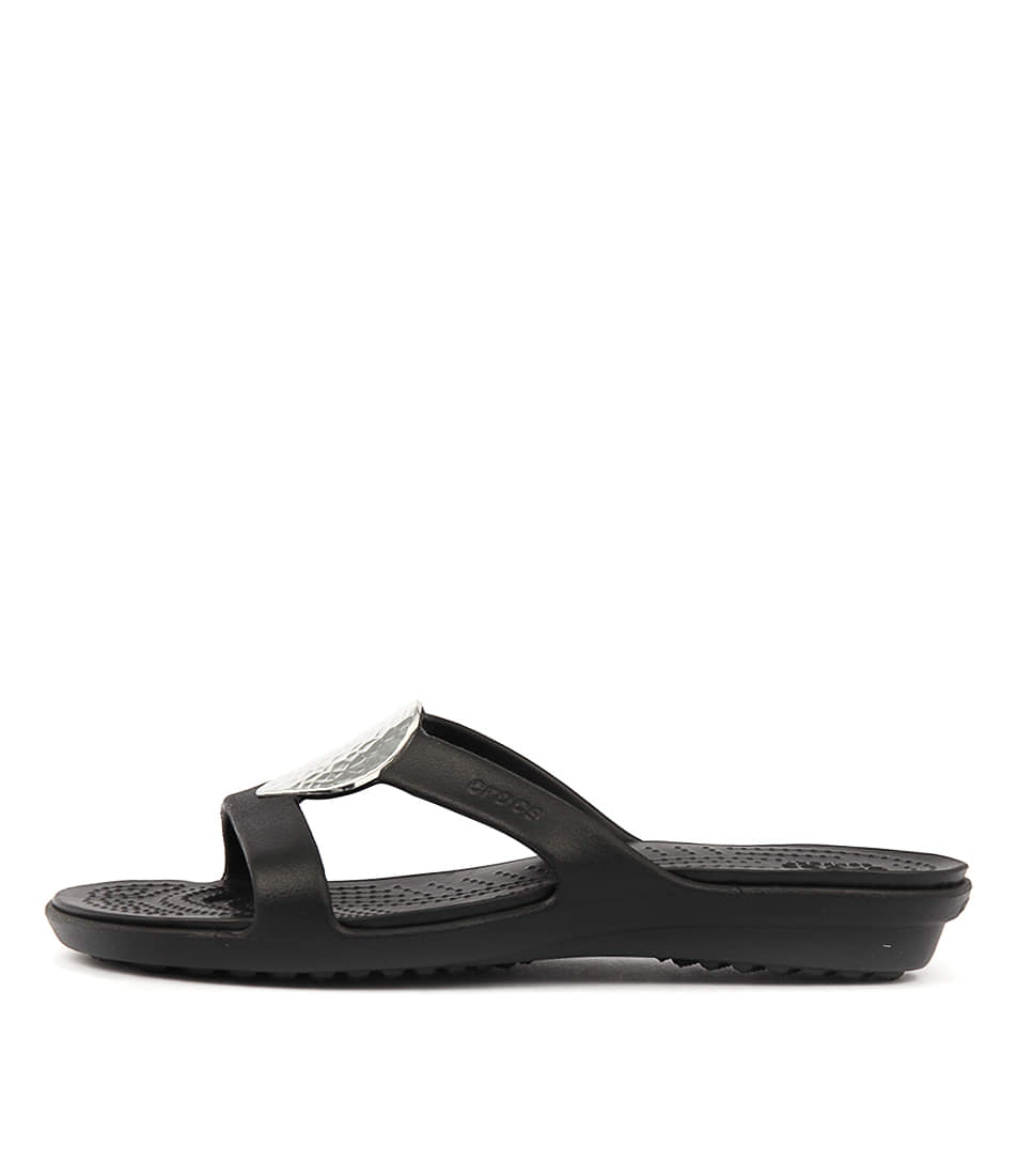 Crocs Sanrah Embellished Sandal Black Silver Sandals