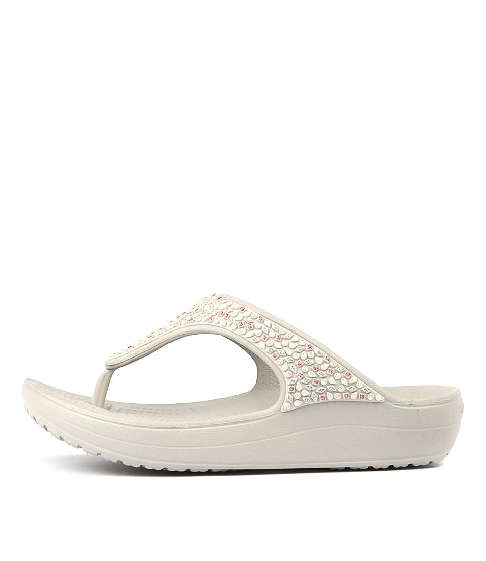 Crocs Sloane Embellished Pearl White Heeled Sandals