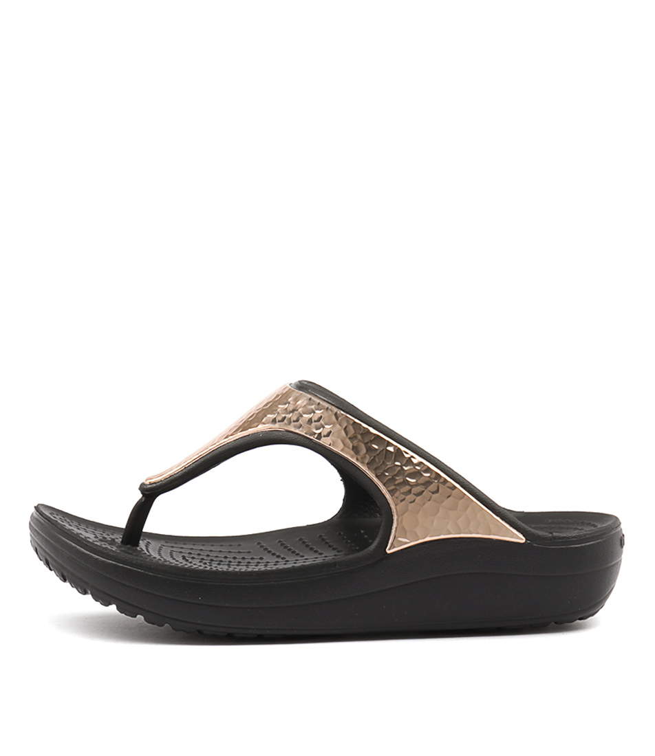 Crocs Sloane Hammered Met Flip Black Rose Gold Heeled Sandals
