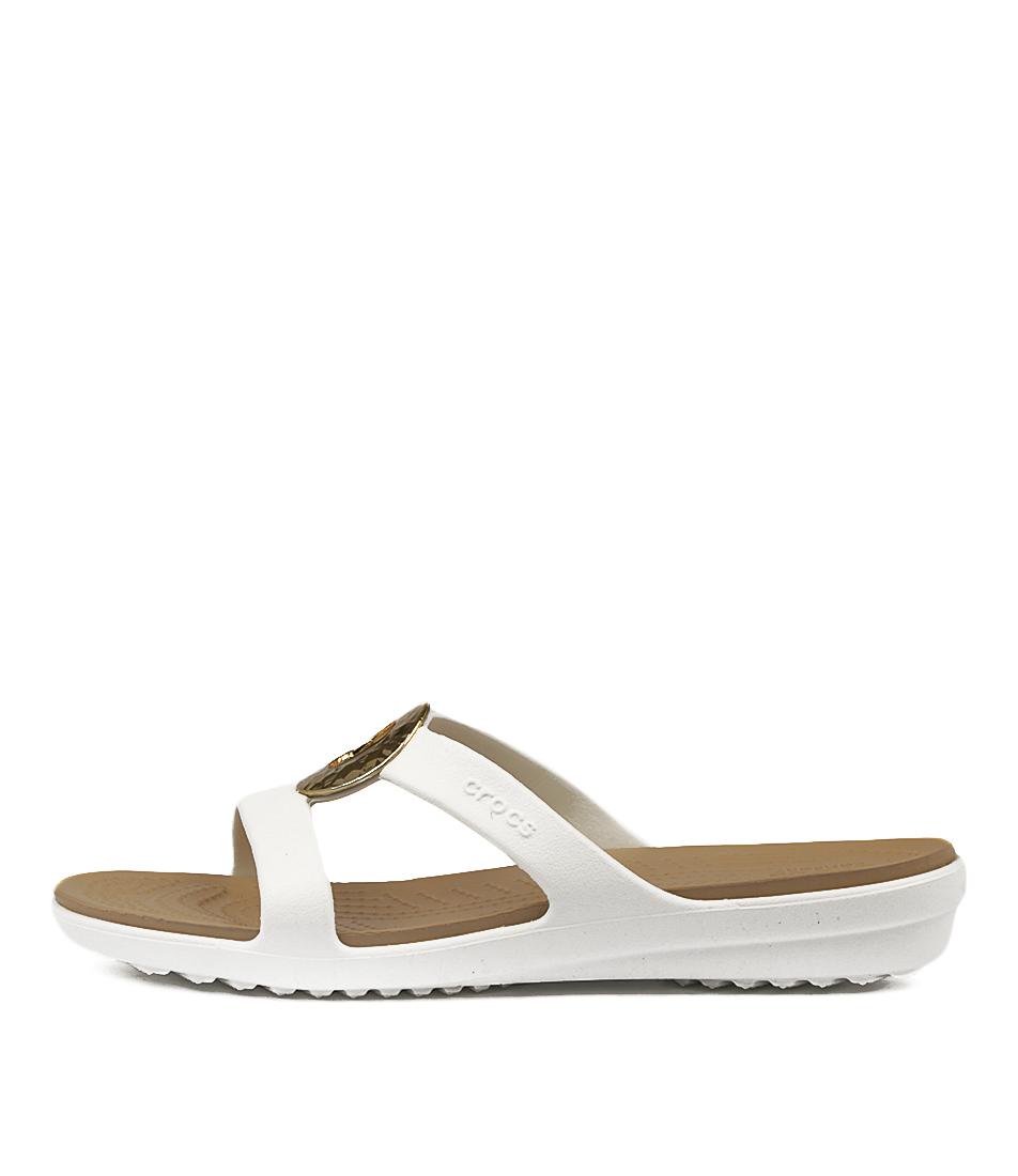 Crocs Sanrah Hammered Met Oyster Gold Sandals