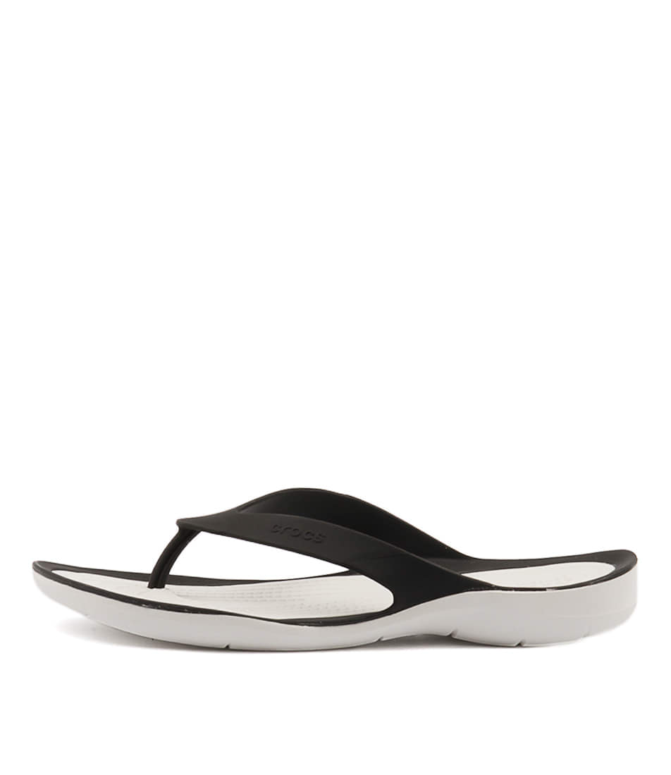 Crocs Swiftwater Flip Women's Black White Sandals