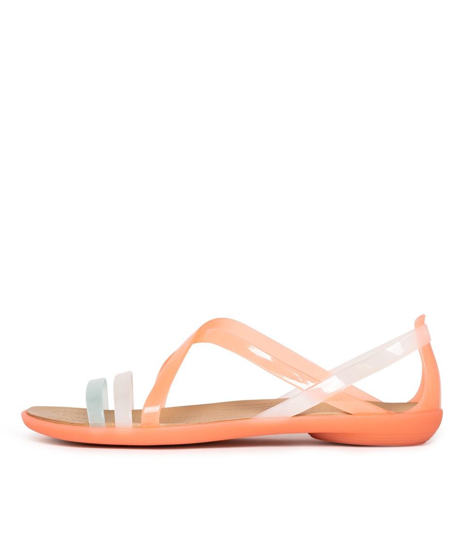 Buy Crocs Isabella Strappy W Melon Gold Flat Sandals online with free shipping