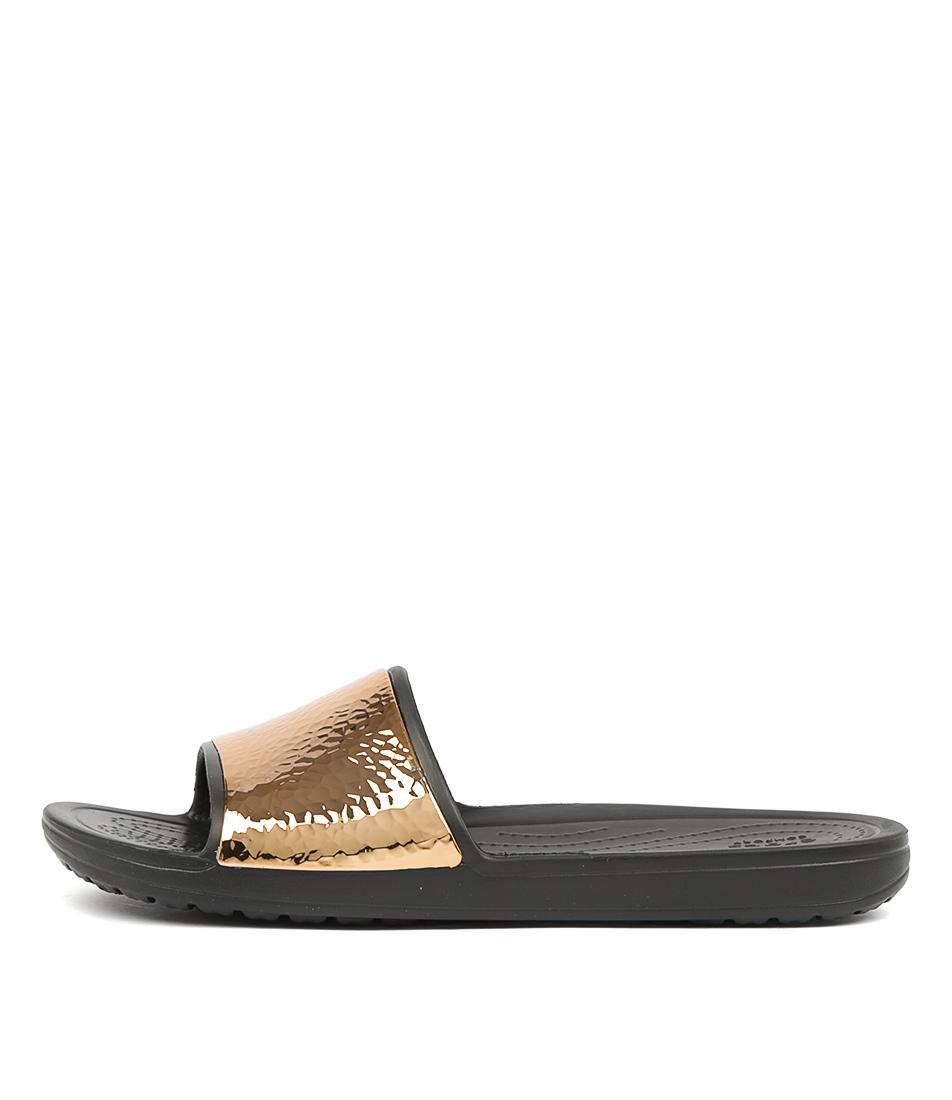 Buy Crocs Sloane Hammered Met Slide Black Rose Gold Flat Sandals online with free shipping
