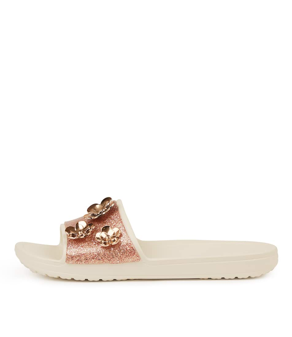 Buy Crocs Sloane Radiant Slide Pearl Pink Glit Flat Sandals online with free shipping