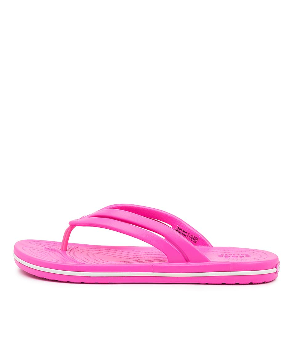 Buy Crocs 206100 Crocband Flip W Cc Electric Pink Flat Sandals online with free shipping