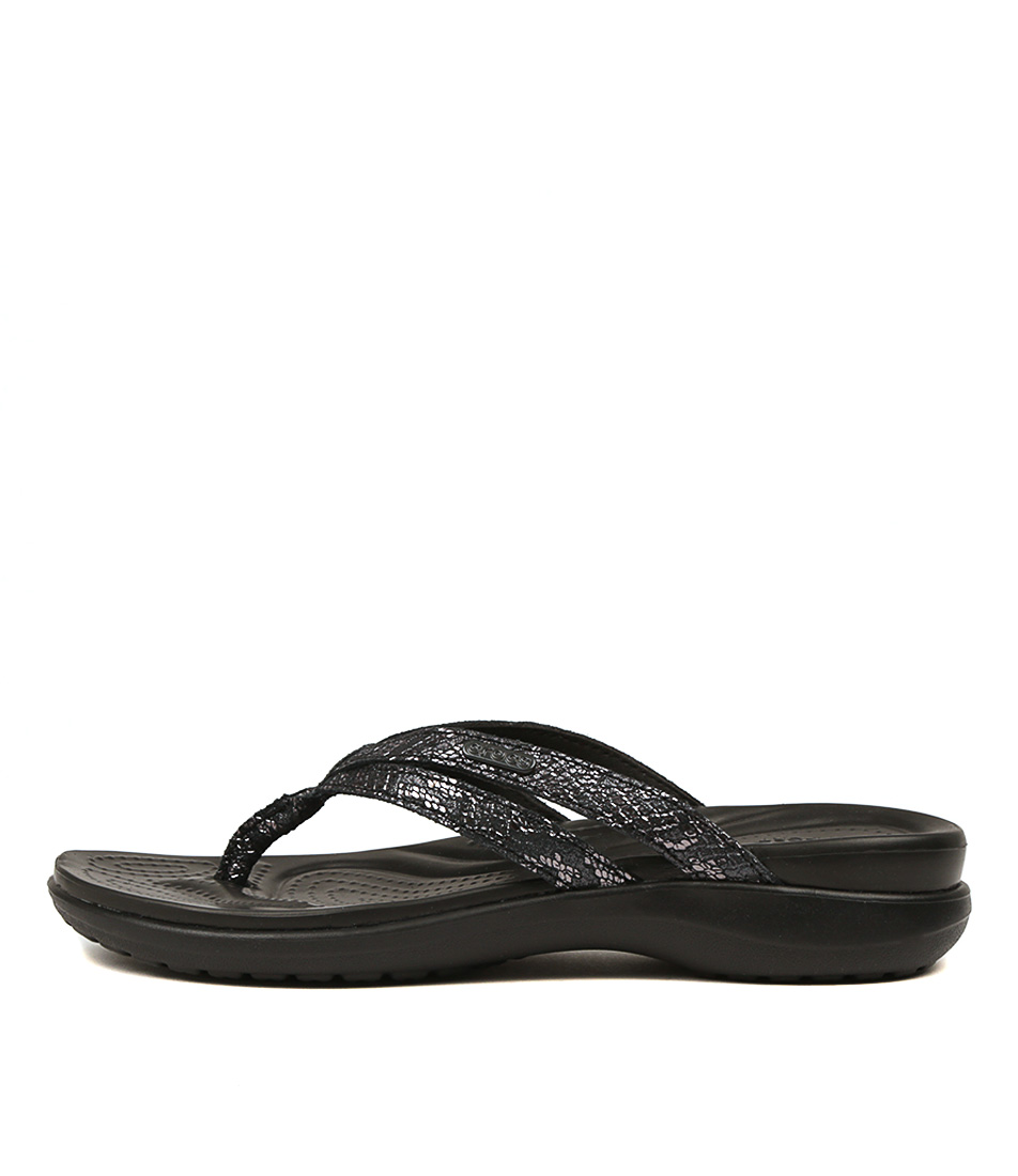Buy Crocs 205478 Capri Strappy Flip W Cc Black Flat Sandals online with free shipping