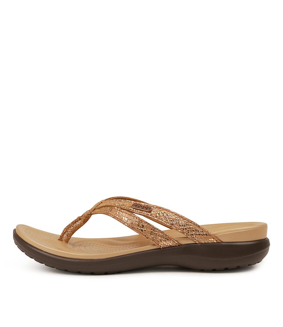 Buy Crocs 205478 Capri Strappy Flip W Cc Bronze Espresso Flat Sandals online with free shipping