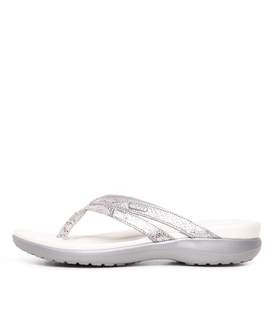 Buy Crocs 205478 Capri Strappy Flip W Cc Silver Silver Flat Sandals online with free shipping
