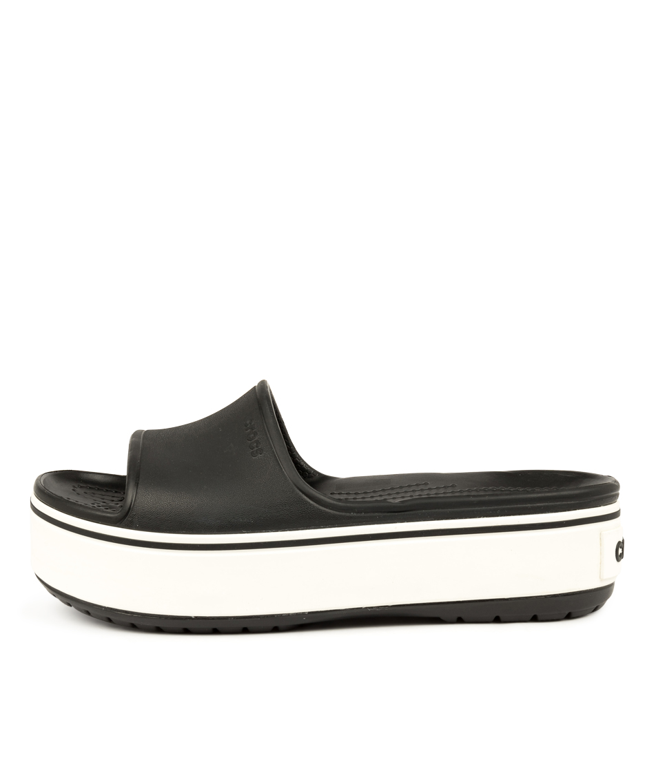 Buy Crocs Crocband Platform Slide Black White Flat Sandals online with free shipping