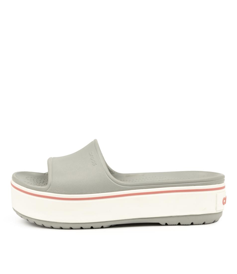 Buy Crocs Crocband Platform Slide Light Grey Flat Sandals online with free shipping