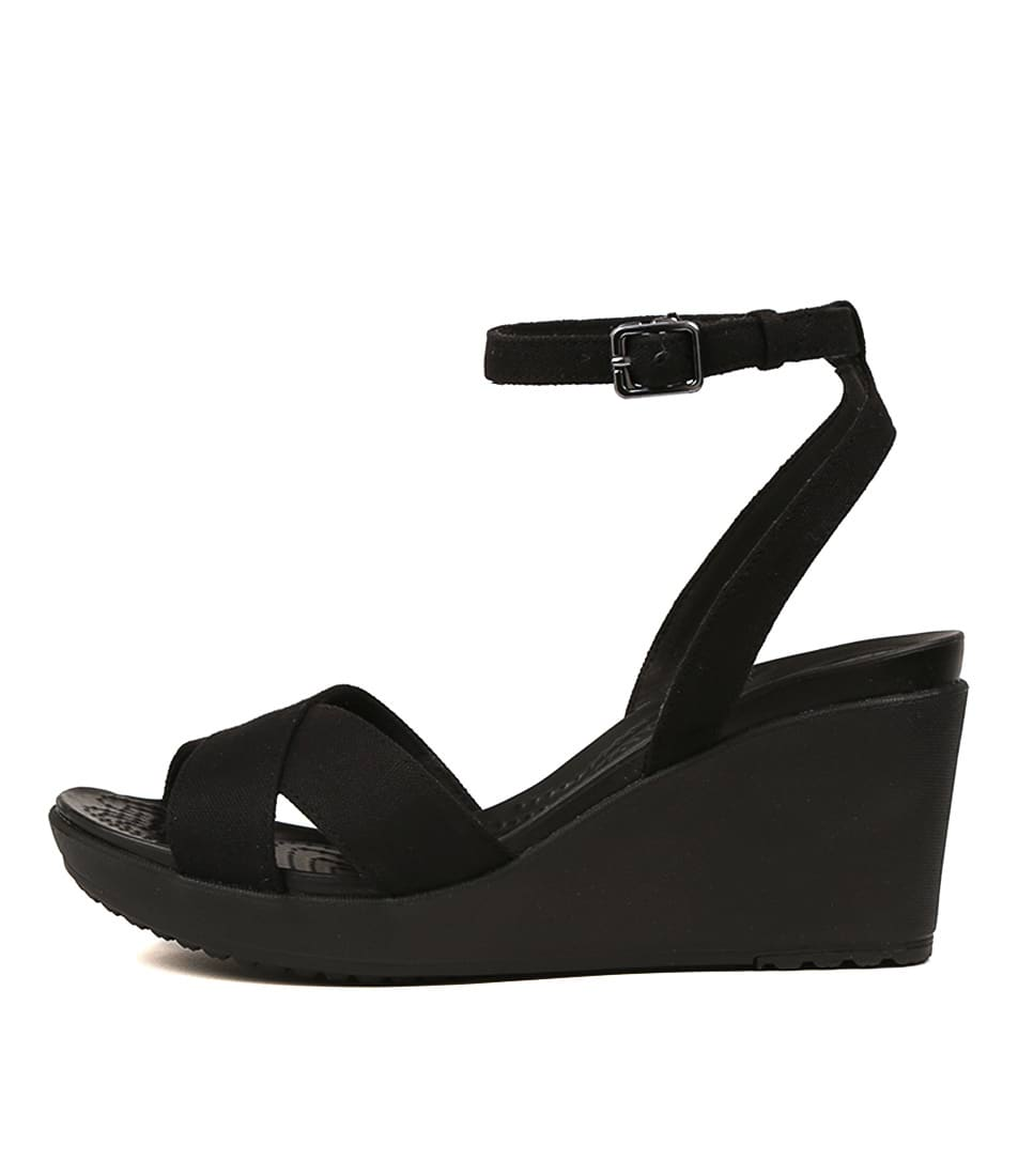 Buy Crocs Leigh Ii Crossstrap Black Heeled Sandals online with free shipping