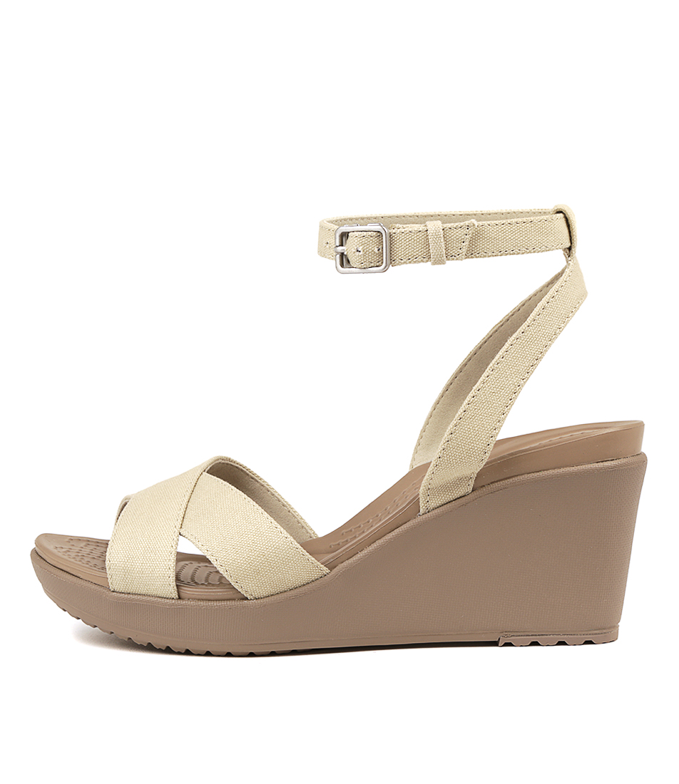Buy Crocs Leigh Ii Crossstrap Oatmeal Heeled Sandals online with free shipping