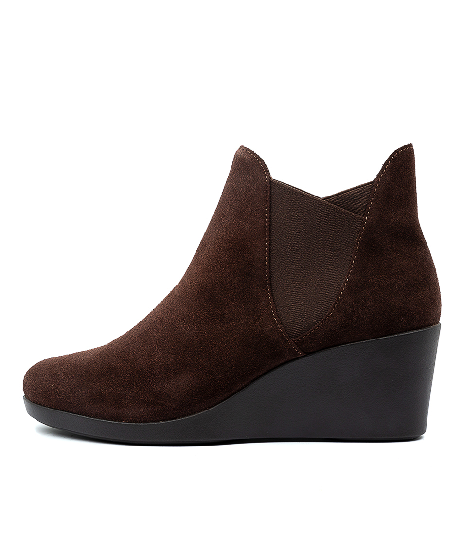 Buy Crocs Leigh Wedge Chelsea Boot Espresso Ankle Boots online with free shipping