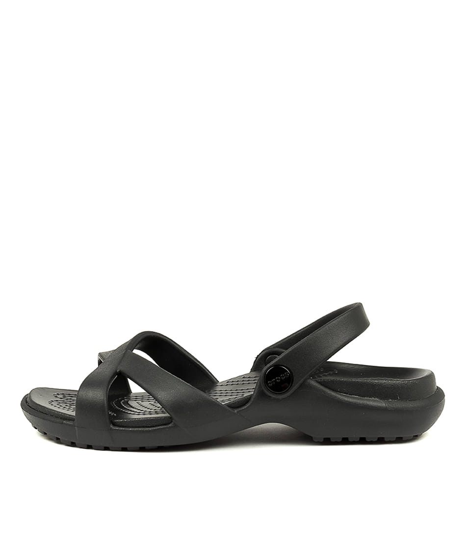 Buy Crocs Meleen Crossband Sandal W Black Flat Sandals online with free shipping