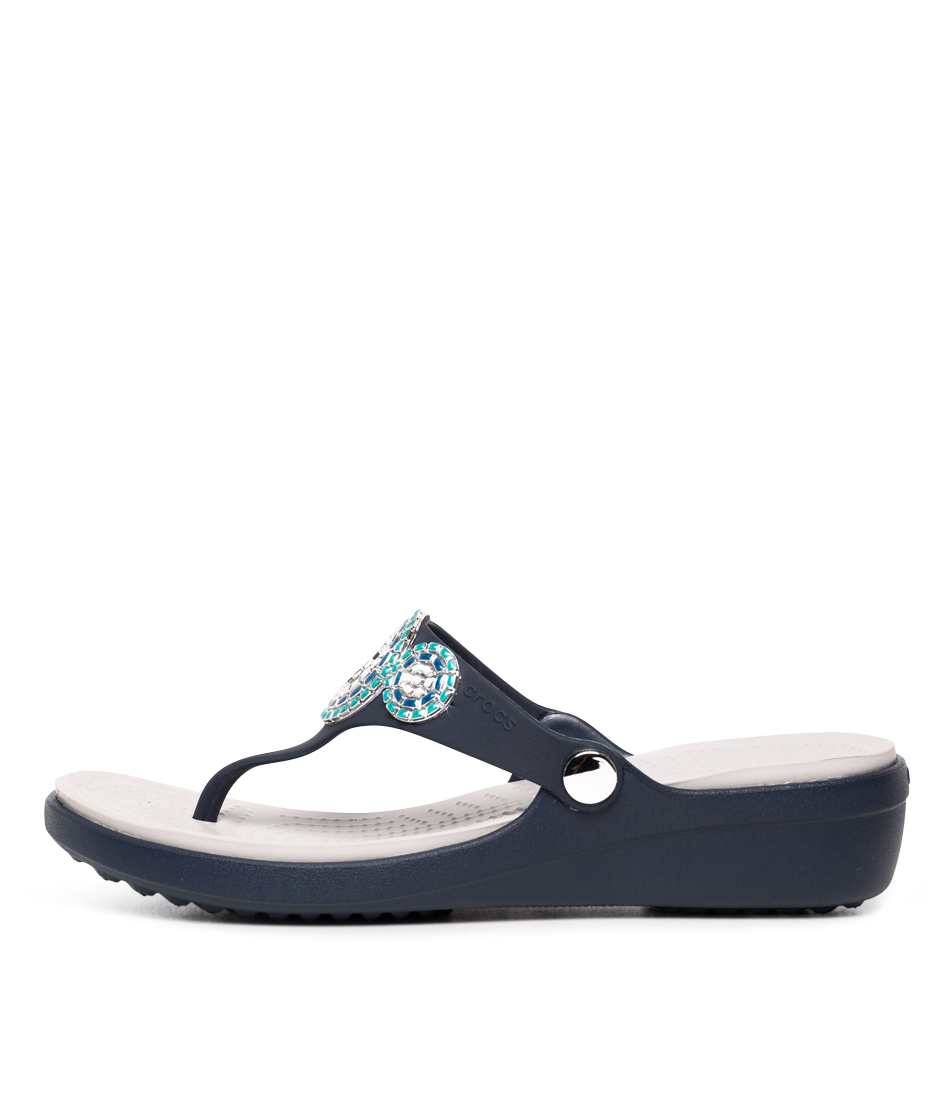 Buy Crocs Sanrah Diamante Wedge Navy Turquoise Heeled Sandals online with free shipping
