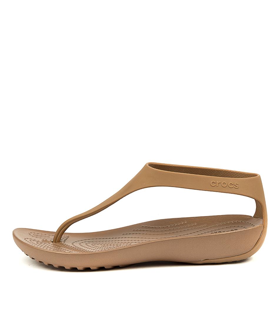 Buy Crocs Serena Flip W Bronze Bronze Flat Sandals online with free shipping