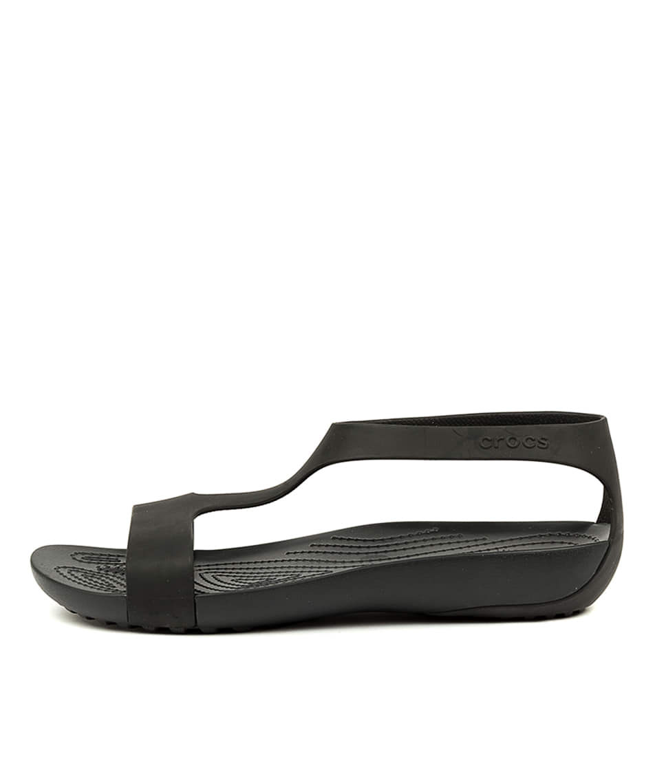 Buy Crocs Serena W Black Flat Sandals online with free shipping