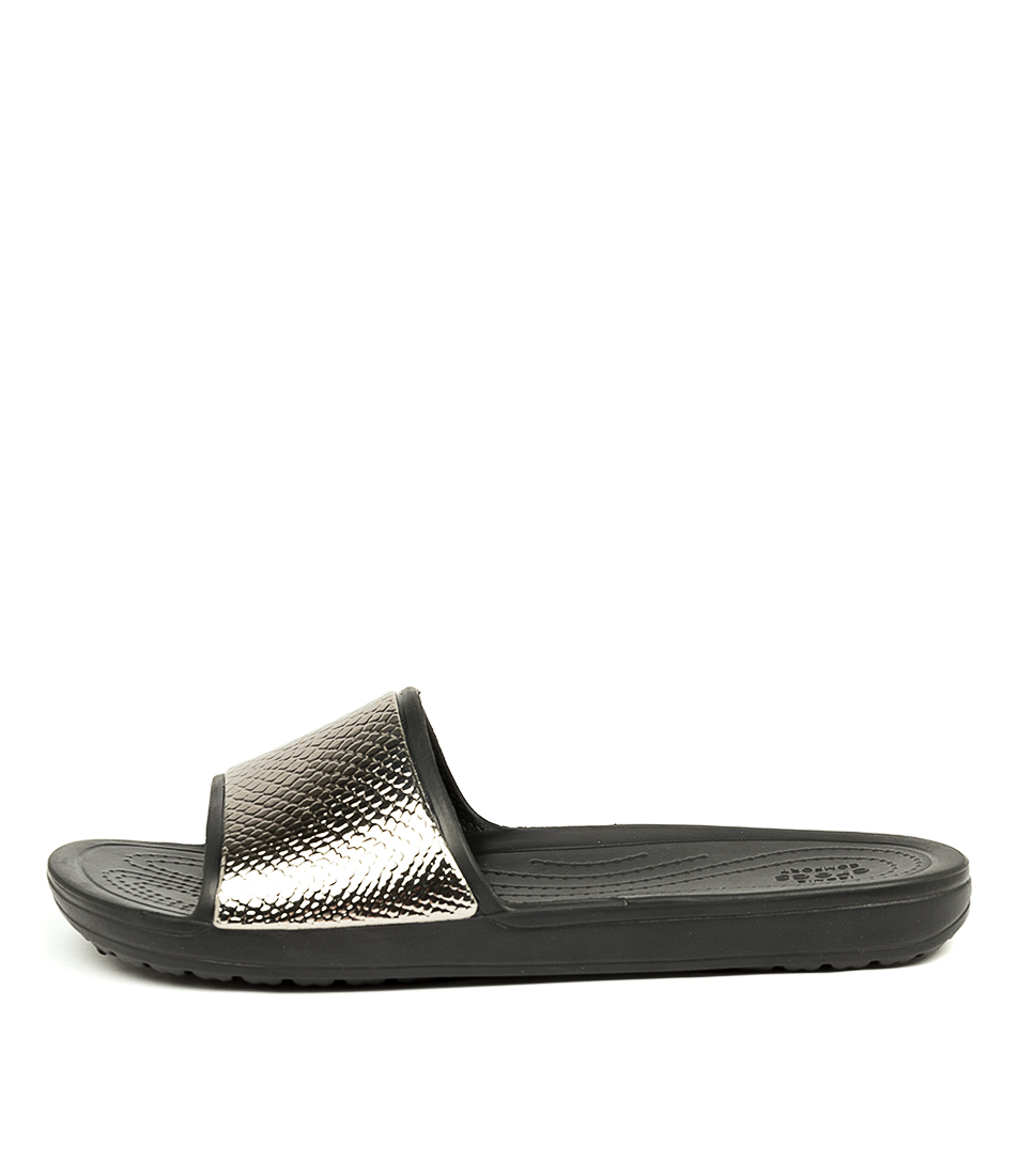 Buy Crocs Sloane Metal Text Sld W Gunmetal Black Flat Sandals online with free shipping