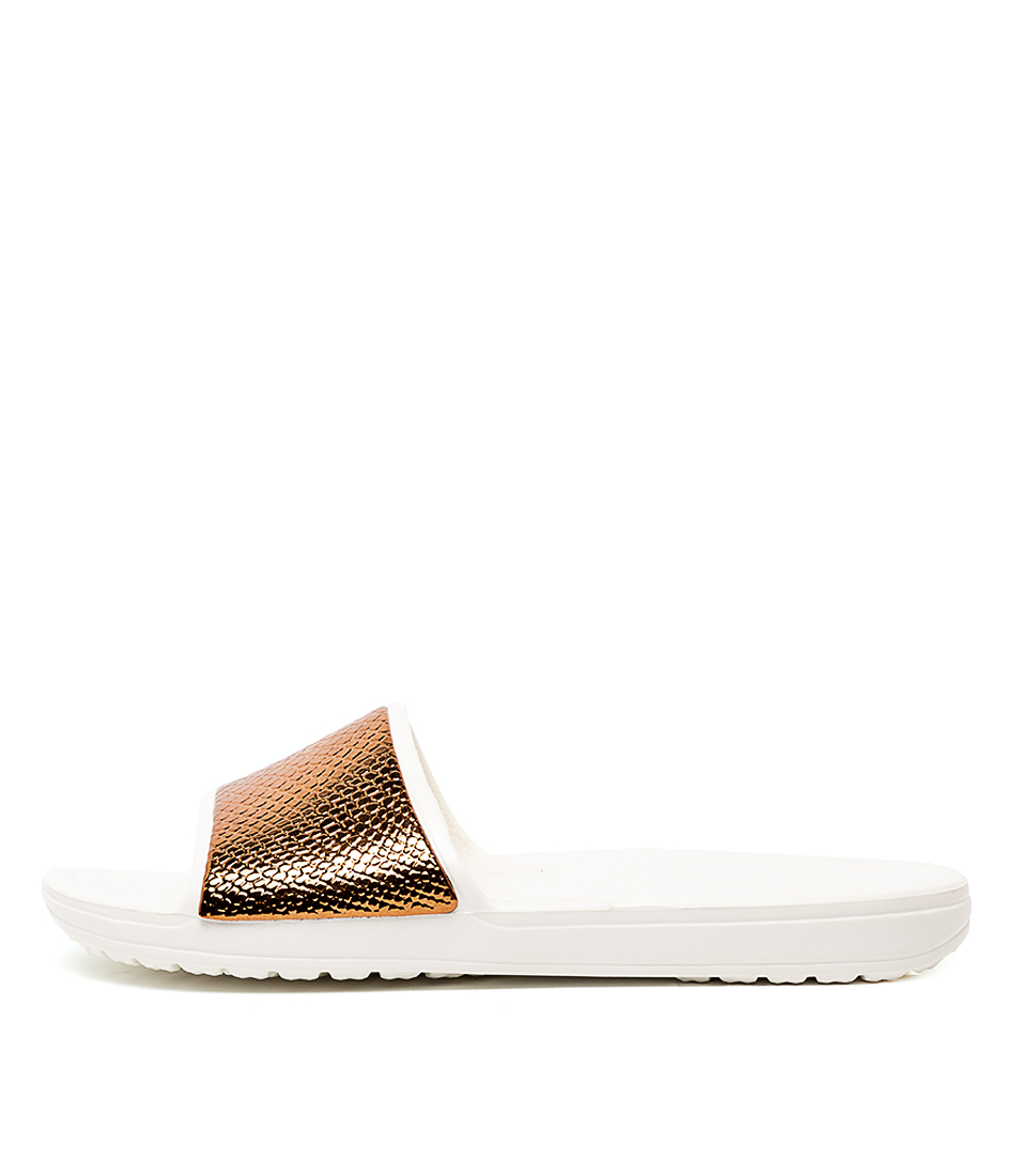 Buy Crocs Sloane Metal Text Sld W Bronze Oyster Flat Sandals online with free shipping