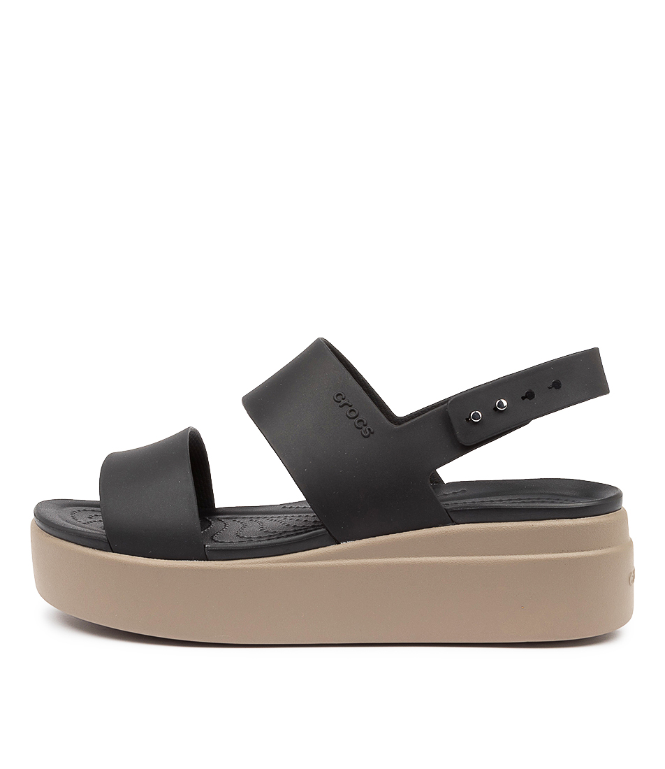Buy Crocs 206453 Brooklyn Low Wedge Cc Black Mushroom Sandals online with free shipping