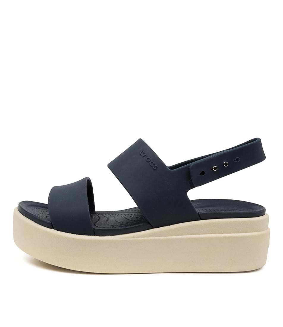 Buy Crocs 206453 Brooklyn Low Wedge Cc Navy Stucco Flat Sandals online with free shipping
