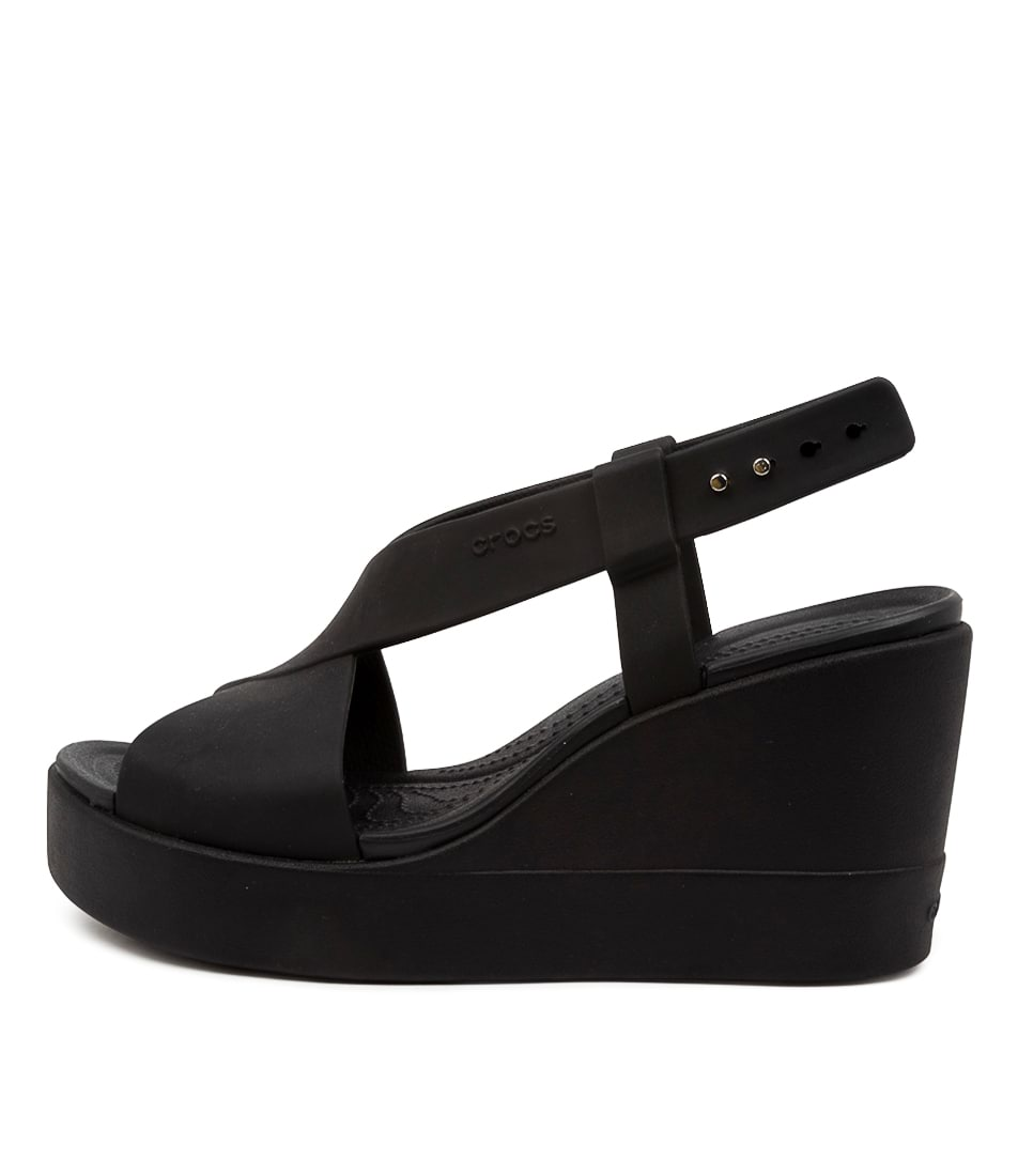 Buy Crocs Brooklyn High Wedge Cc Black Flat Sandals online with free shipping