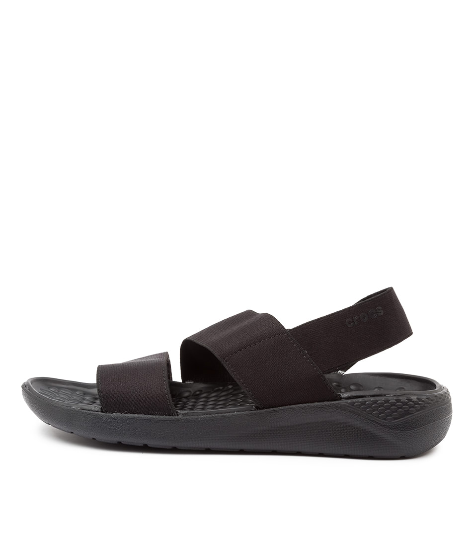 Buy Crocs Literide Stretch Black Flat Sandals online with free shipping