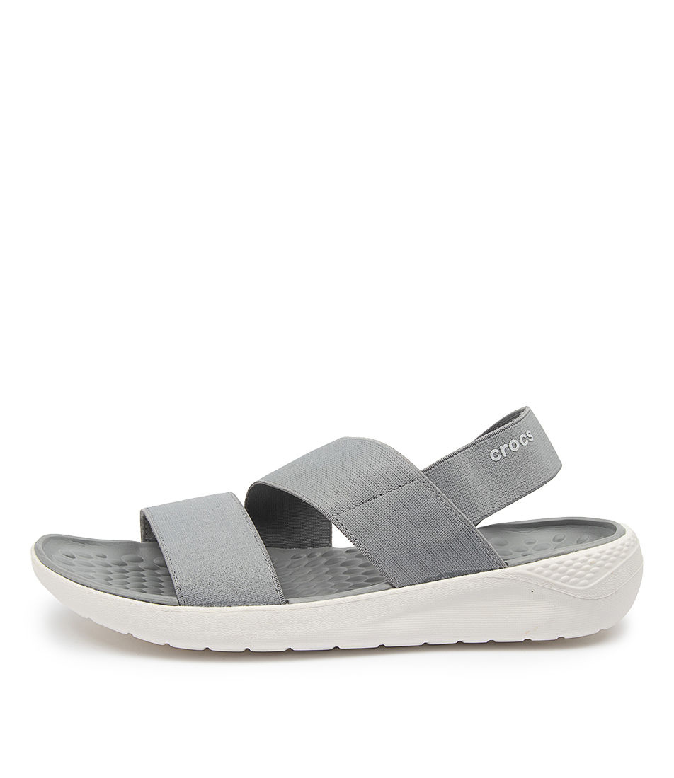 Buy Crocs Literide Stretch Sandal Cc Light Grey White Flat Sandals online with free shipping