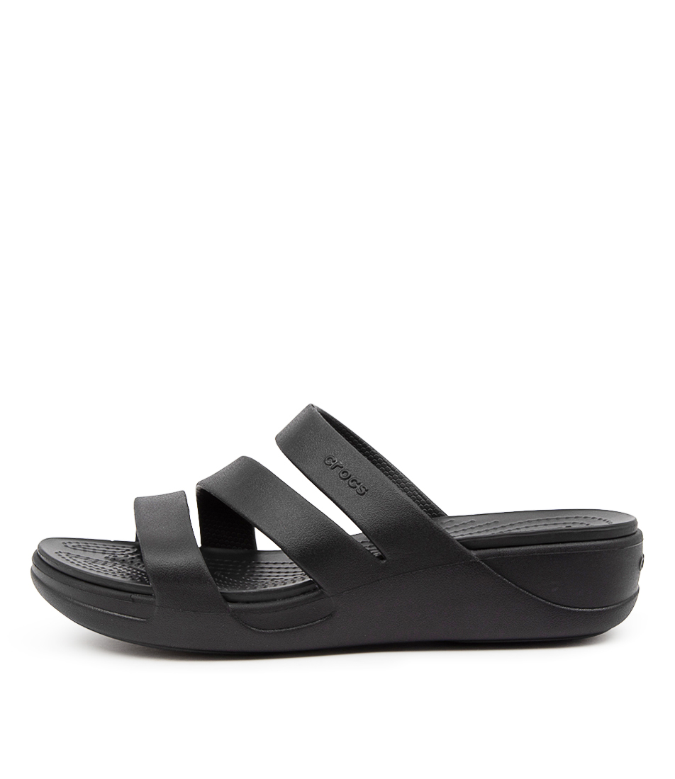 Buy Crocs 206304 Monterey Wedge Cc Black Flat Sandals online with free shipping