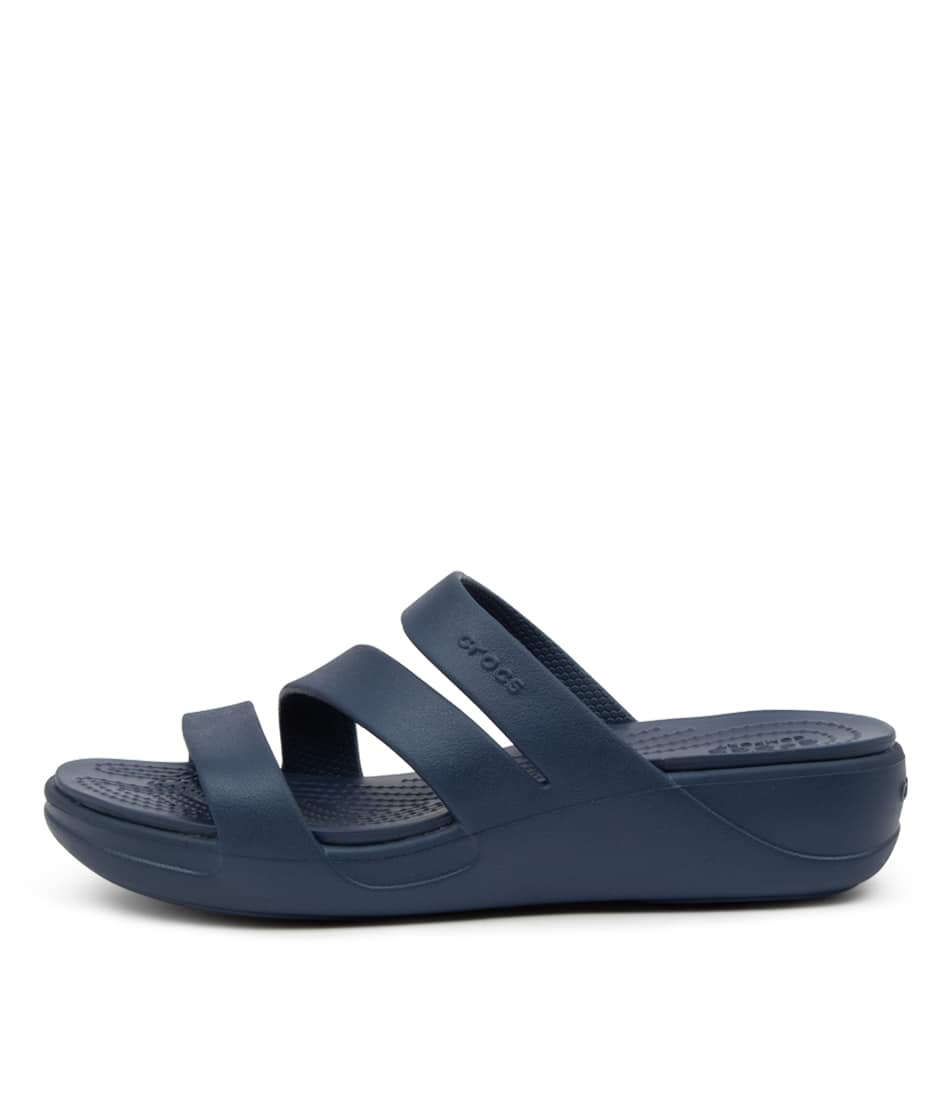 Buy Crocs 206304 Monterey Wedge Cc Navy Flat Sandals online with free shipping