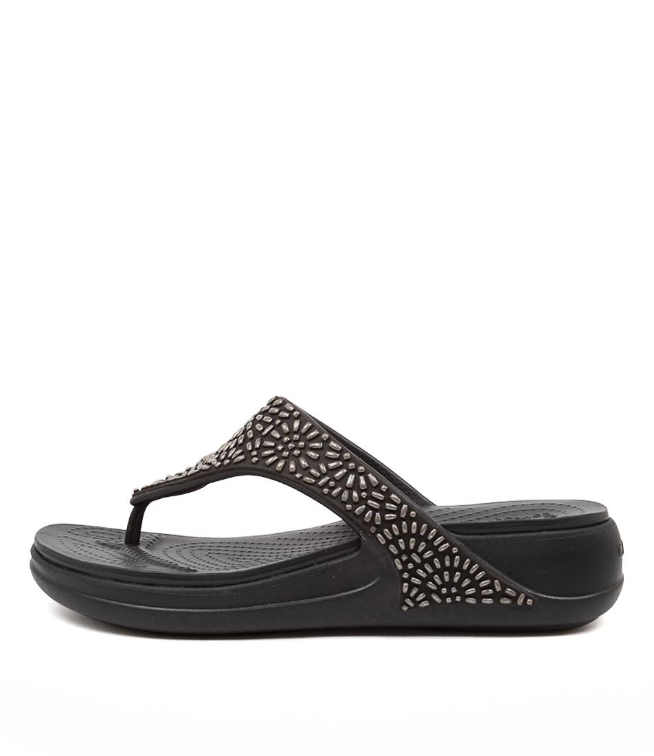 Buy Crocs 206343 Monterey Diamante Cc Black Flat Sandals online with free shipping