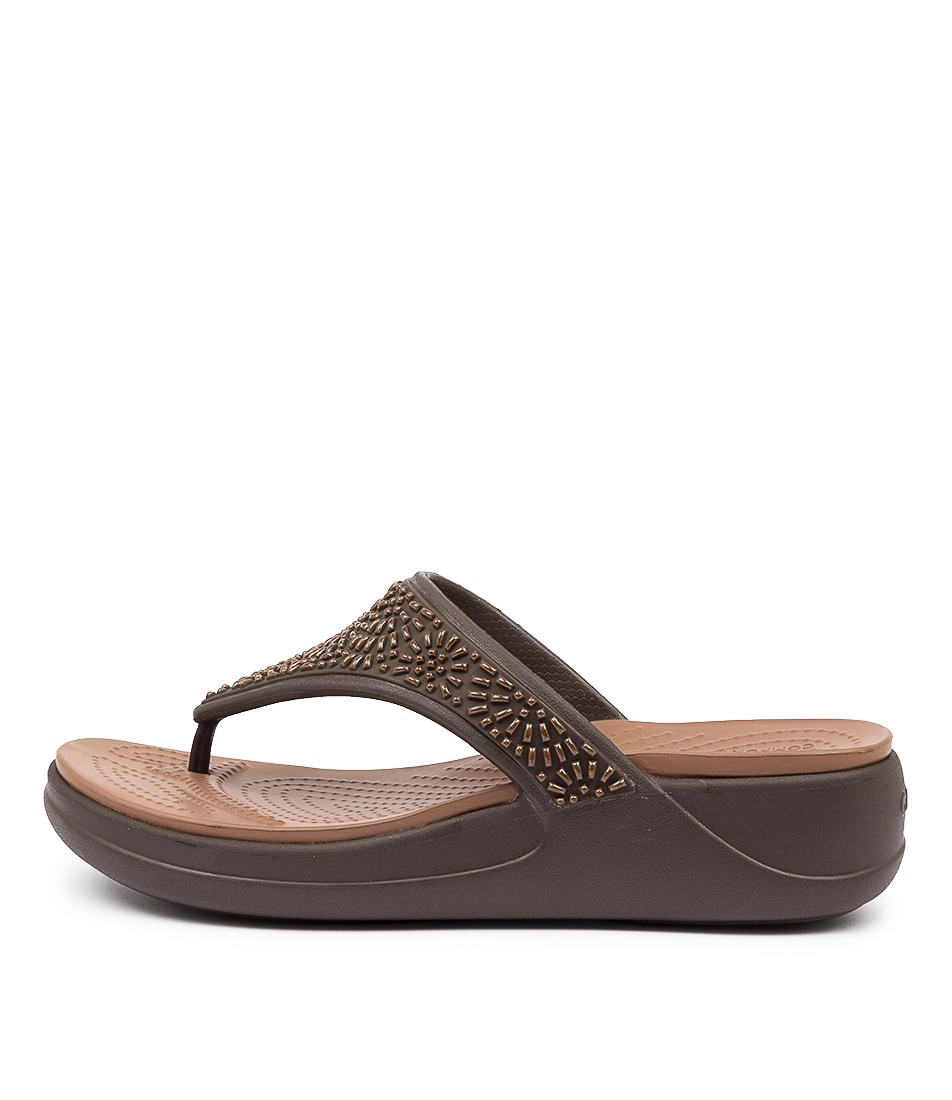 Buy Crocs 206343 Monterey Diamante Cc Espresso Bronze Sandals online with free shipping