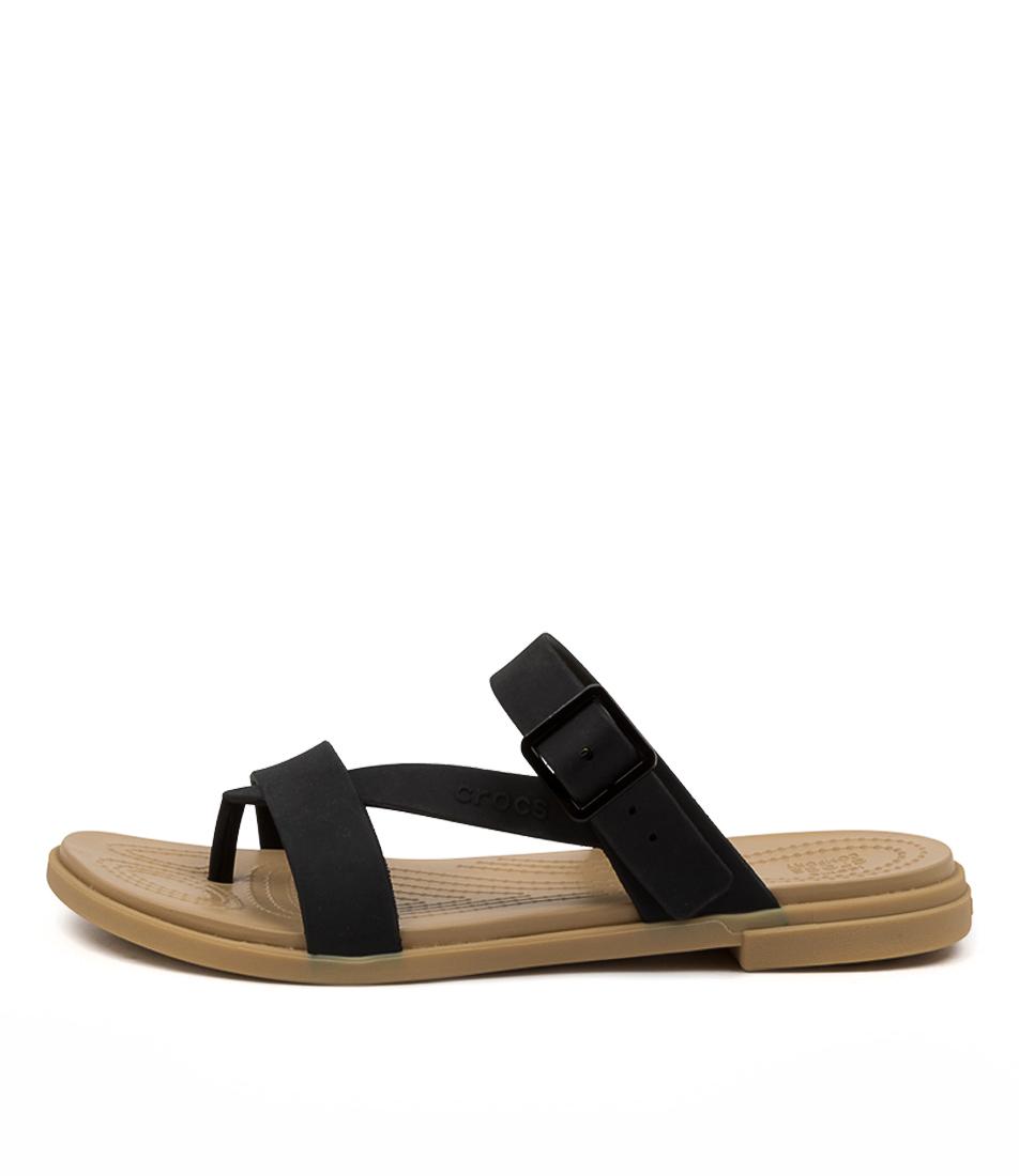 Buy Crocs 206108 Talum Toe Post Cc Black Tan Flat Sandals online with free shipping