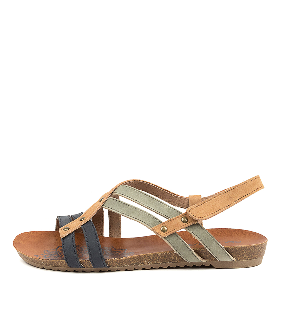 Buy Colorado Aldona Cf Navy Lt Tan Khaki Flat Sandals online with free shipping
