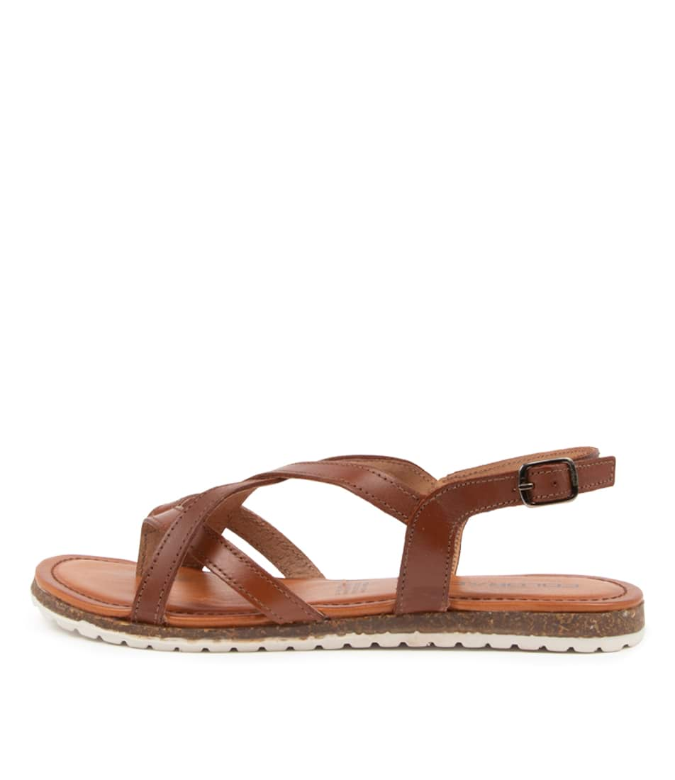 Buy Colorado Beau Cf Cognac Flat Sandals online with free shipping