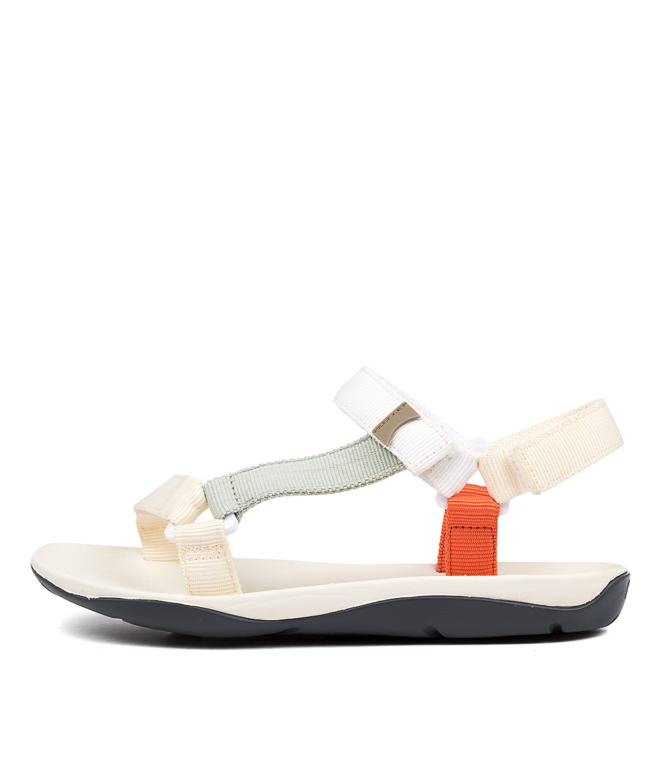 Buy Camper Match White Orange Flat Sandals online with free shipping