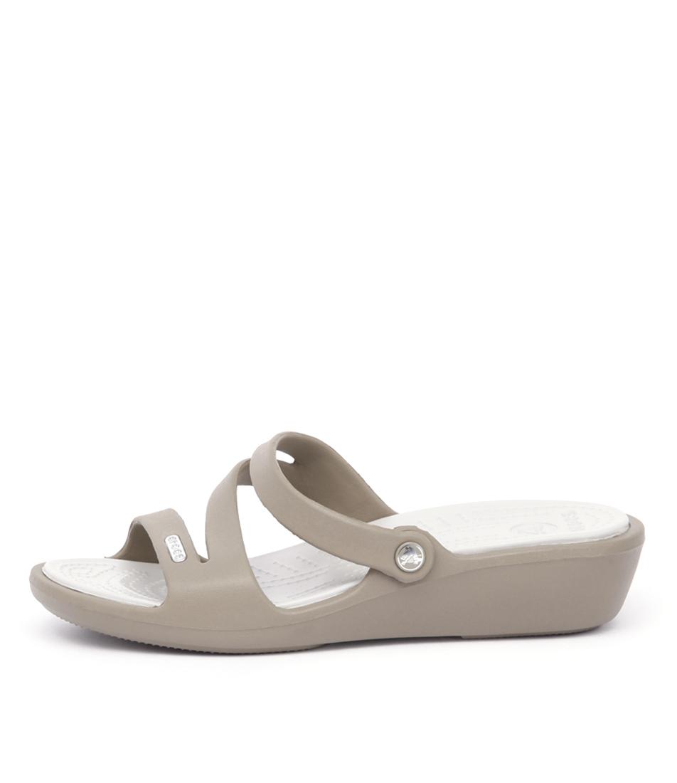 Crocs Patricia Cc Khaki Pearl Whi Comfort Flat Sandals