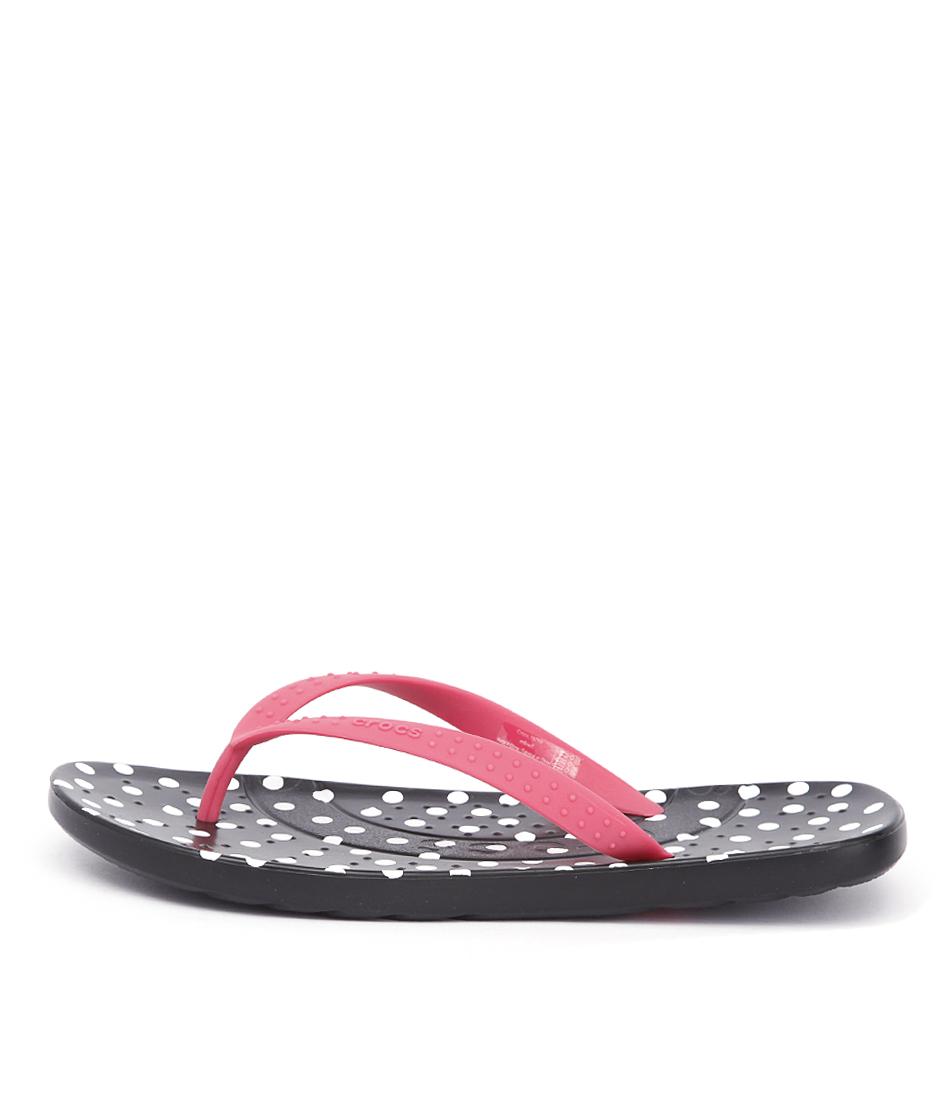 Crocs Chawaii Grap Flip Poppy Black Comfort Flat Sandals