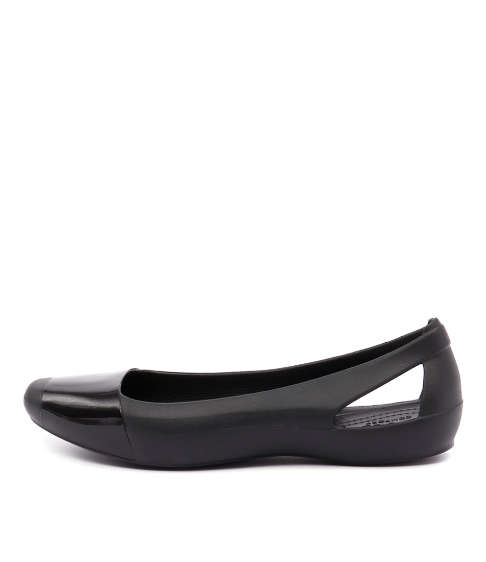 Crocs Sienna Shiny Flat Black Black Casual Flat Shoes