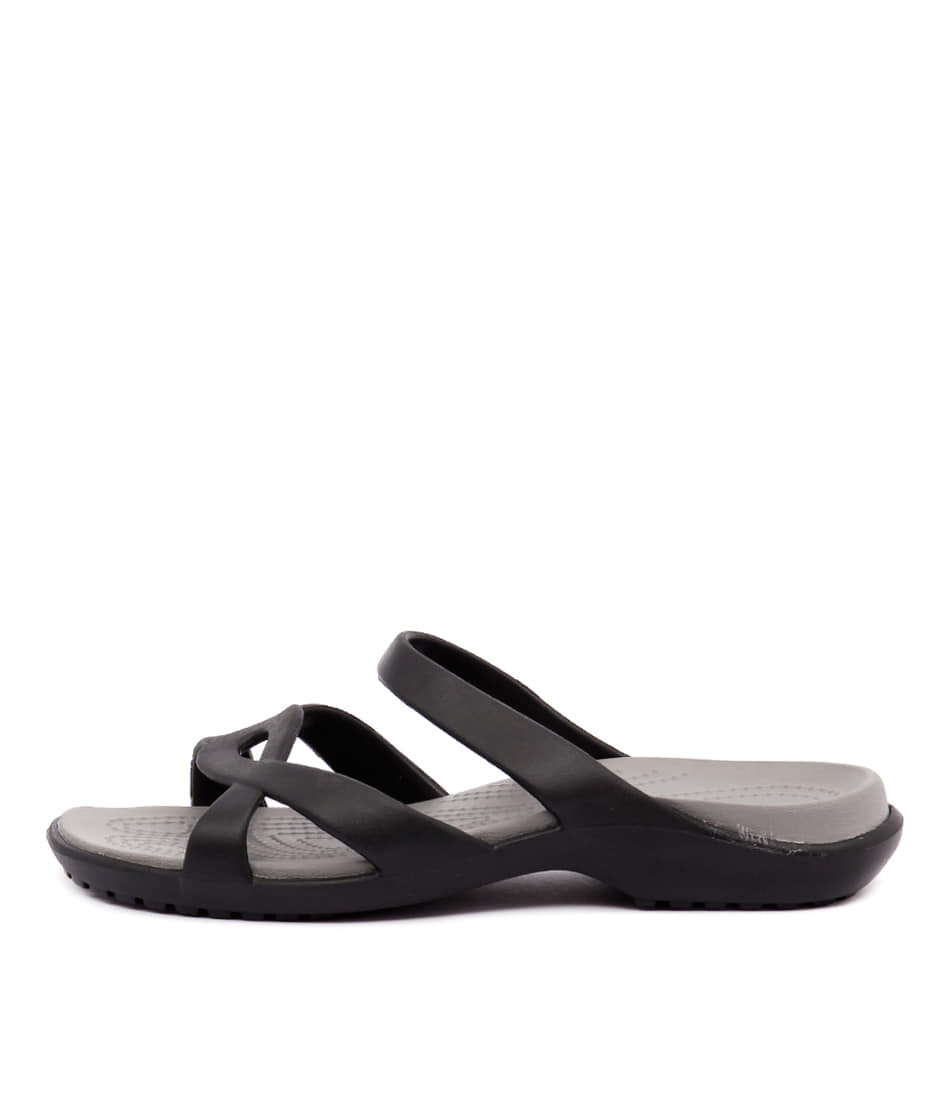 Buy Crocs Meleen Twist Sandal Black Smoke Flat Sandals online with free shipping