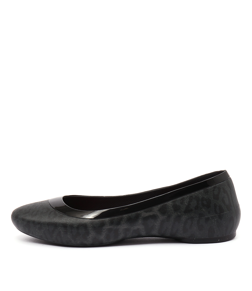 Crocs Lina Shiny Flat Black Black Casual Flat Shoes